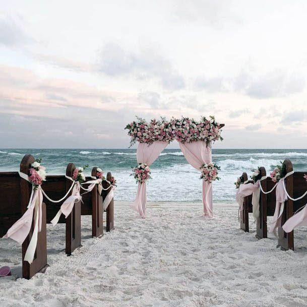 Light Pink Themed Beach Wedding Flowers Dais