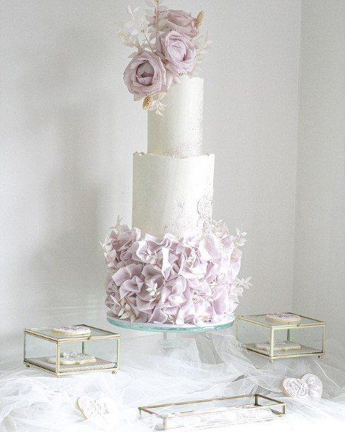 Light Purple Roses Wedding Cake White
