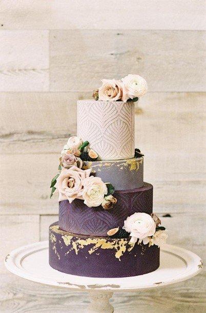 Light To Dark Purple Four Shaded Purple Wedding Cake