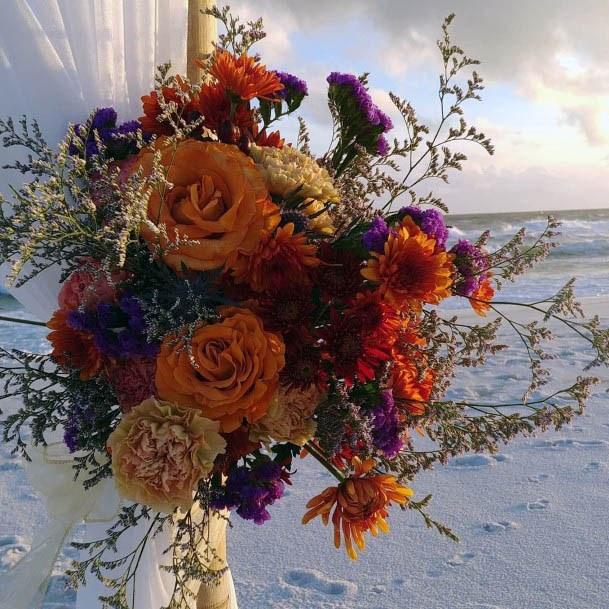 Light Yellow And Orange Beach Wedding Flowers