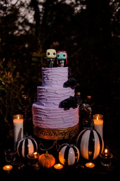 Lighted Candles Halloween Wedding Cakes