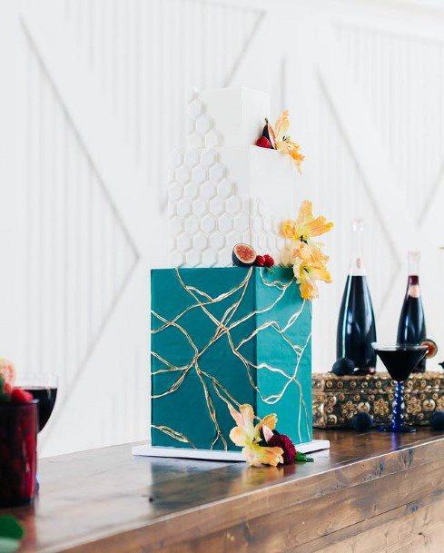 Lightening Art Blue Square Wedding Cake