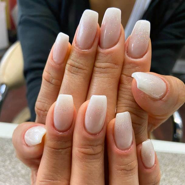 Lightly Glittering Whitish Ombre Nails Women