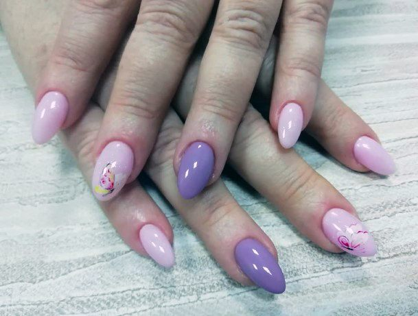 Lilac Nails With Flower Design
