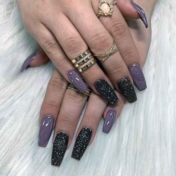 Lilac With Black Sugar Nails Women