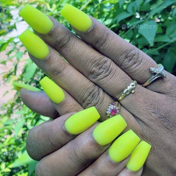 Lime Greenish Bright Yellow Nails For Women