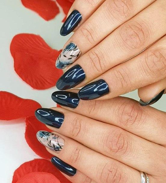 Liquid Dark Blue Romantic Nails Women