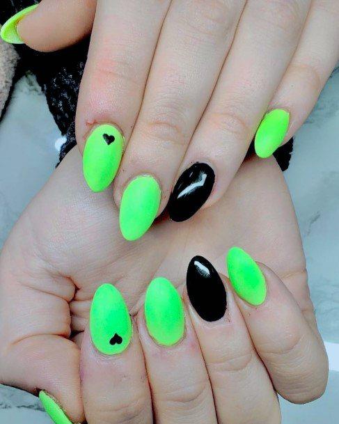 Little Black Hearts On Neon Green Nail Art