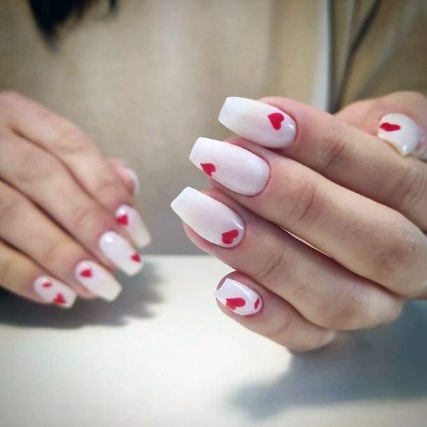 Little Red Romantic Heart On White Nails Women