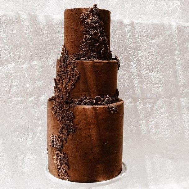 Logs Of Chocolate Wedding Cake Three Tiered