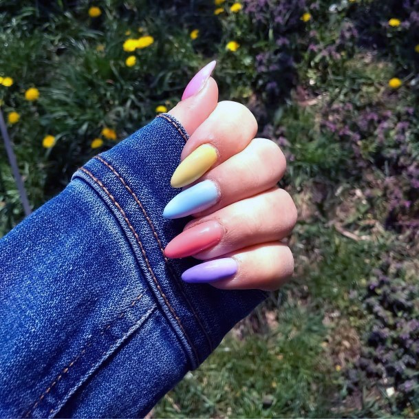 Long Almond Shaped Colorful Nail Ideas For Women