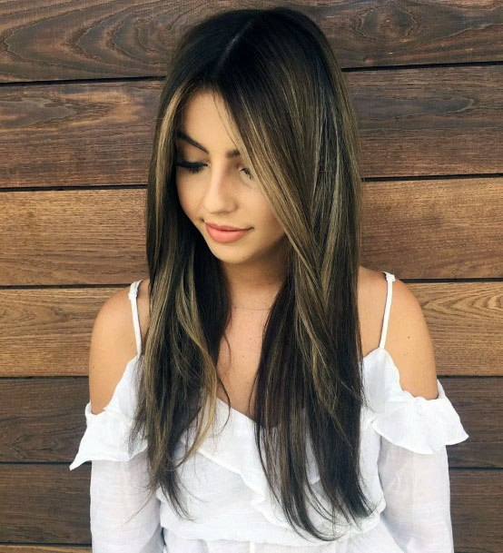 Long Bangs Middle Part Hairstyle For Women