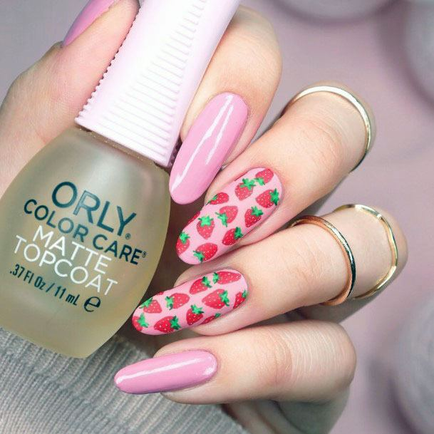 Long Beautiful Pink Strawberry Nail Design Long Rounded Tip Design For Women