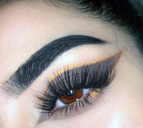Long Black Winged Brown Gold Eyeshadow Women