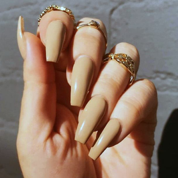 Long Brownish Nude Nails For Women