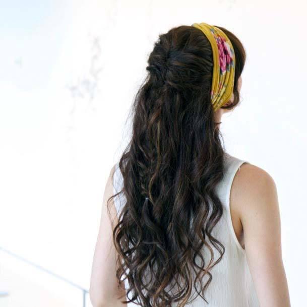 Long Cascading Curls On Dark Brown Hair And Yellow Headband
