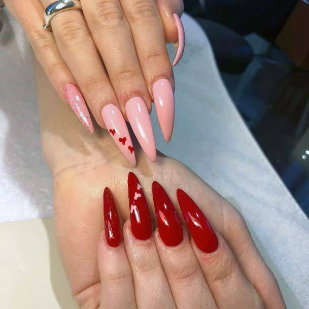 Long Clawed Nails Red And Pink For Women