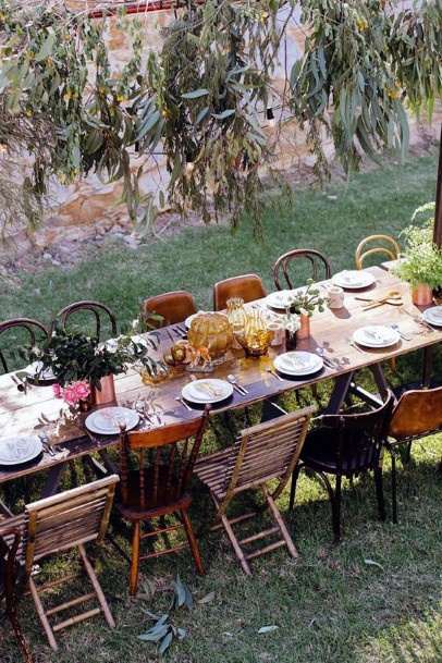 Long Family Table Eclectic Chairs Backyard Wedding Ideas