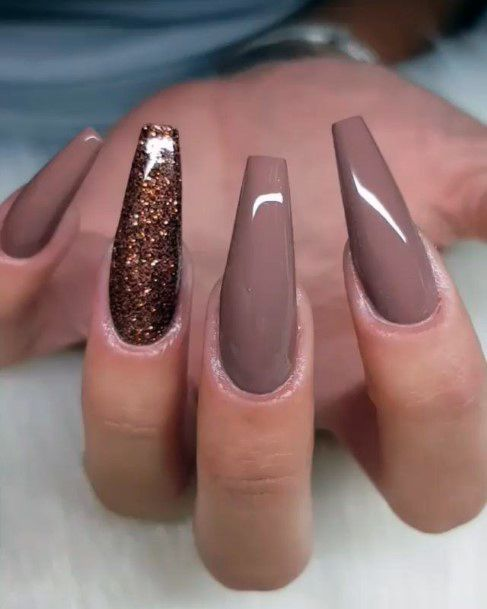 Long Ginger Brown Nails With Glitters For Women