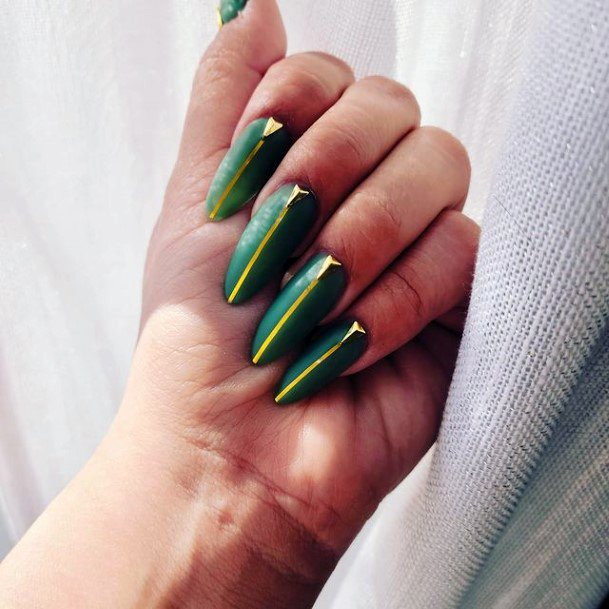 Long Green Nails With Vertical Gold Line Art For Women
