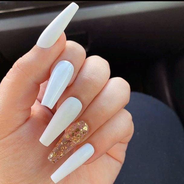 Long Ivory White Gel Nails Women
