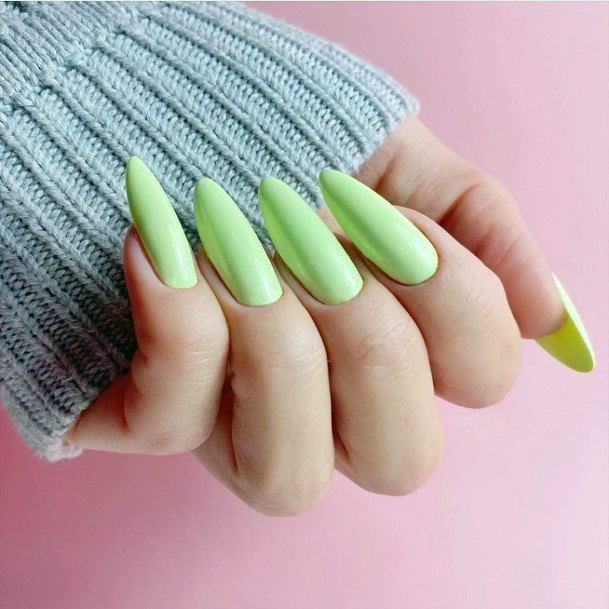 Long Light Green Polished Nails