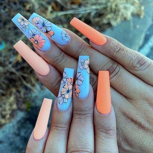 Long Matte Orange Florals On Blue Nails For Women