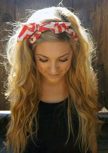 Long Medium Blonde With Loose Waves And Scarf Pull Back