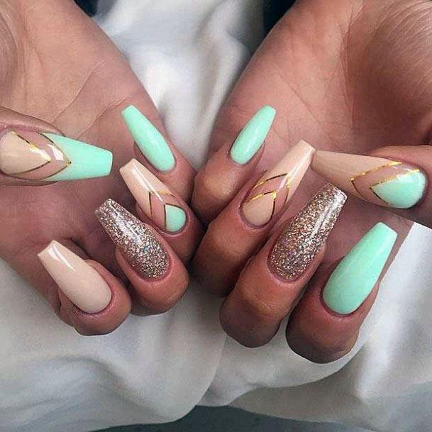 Long Mint Nails Ideas For Women