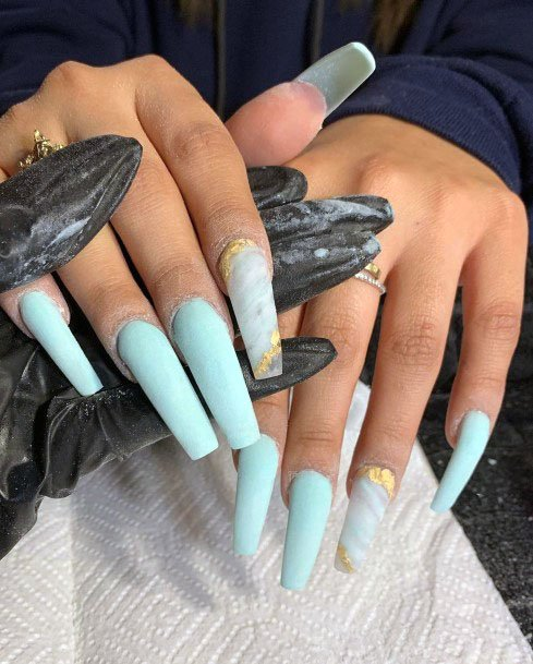 Long Mint Polished Nails For Women