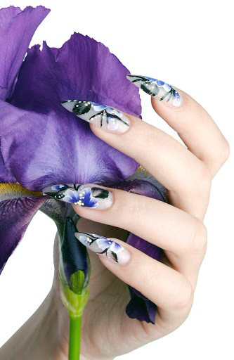 Long Orchid Pattern Nail Design