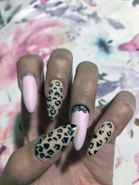 Long Pink And Leopard Nails Women