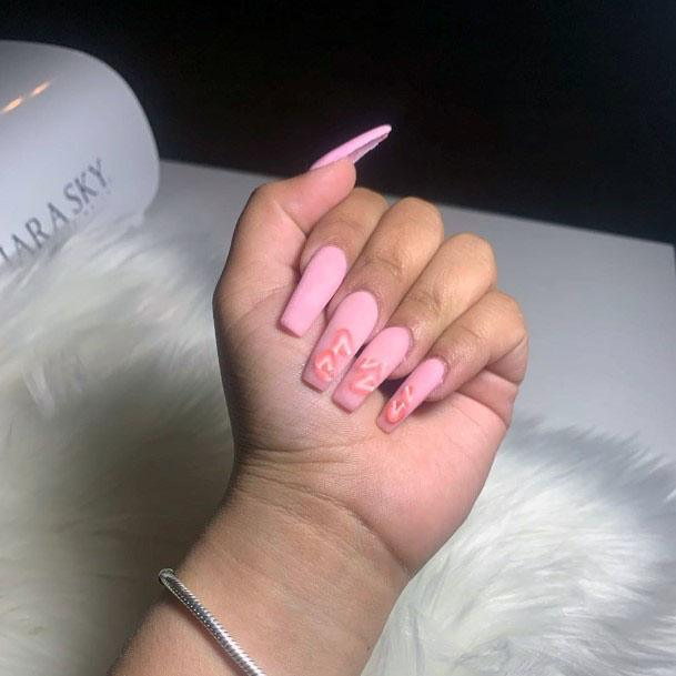 Long Sleek Pink Strawberry Nail Inspiration For Women