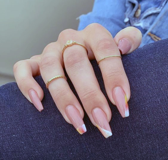 Long Square Shaped Romantic Nails Women