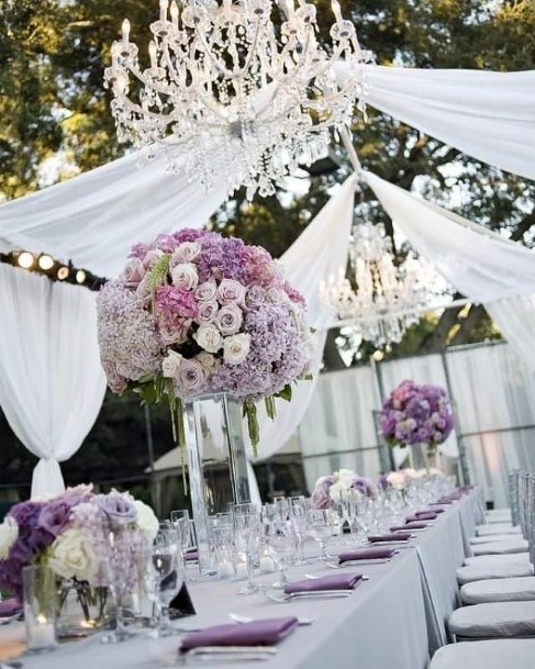 Long Stemed Lavender Flowers Decor Wedding Table