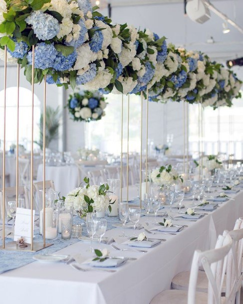 Long Stemmed Blue And White Wedding Hydrangea Flowers