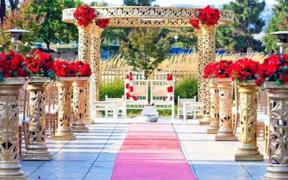 Long Vased Aisle Decor With Red Indian Wedding Flowers