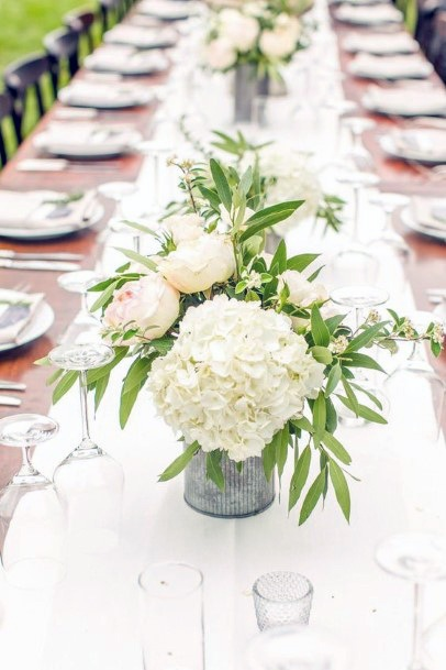 Long Wedding Table Decor With White Hydrangea Flowers