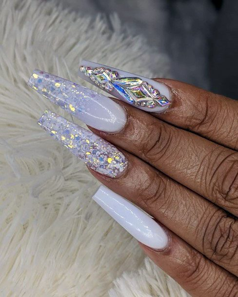Long White Gel Nails With Glamourous Sparkles Women