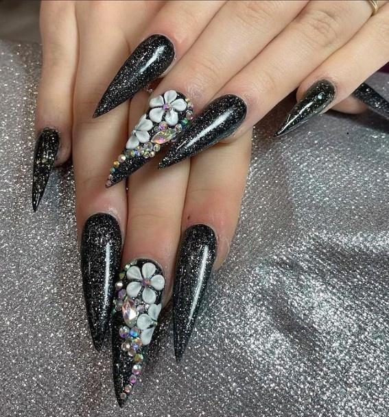 Long Witch Black Nails 3d Flowers Women
