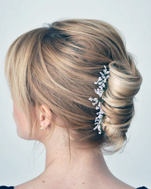 Loose Bridal French Twist With Bangs For Women