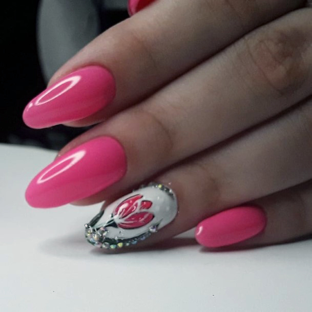 Lotus On Pink Nails