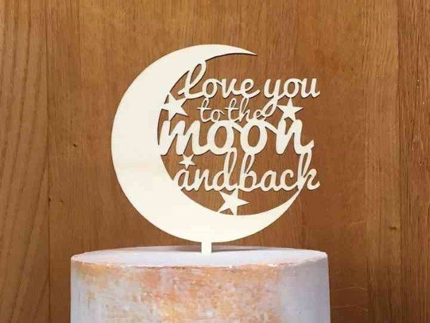 Love Moon Quote Rustic Wedding Cake Toppers