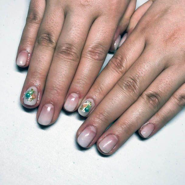 Lovely Art On White Ombre Nails Women