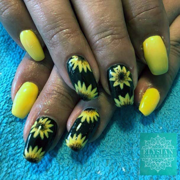 Lovely Black And Bright Yellow Nails With Flower Art For Women
