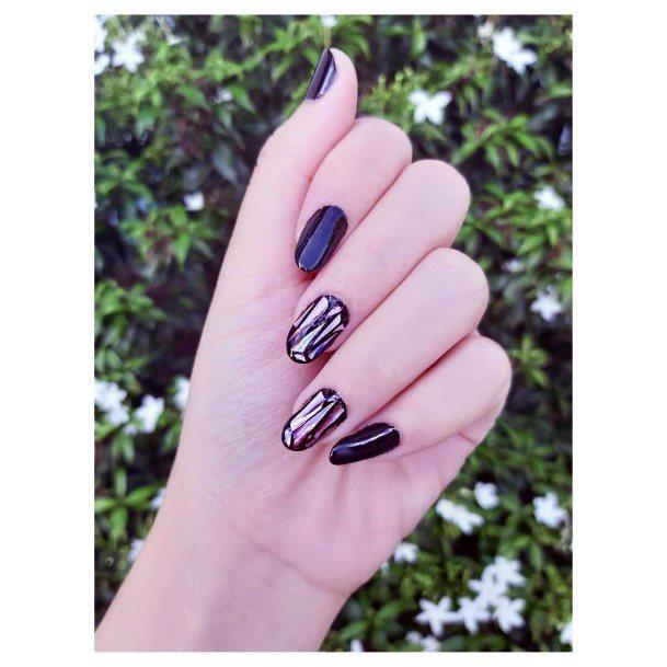 Lovely Black Glass Nails For Women