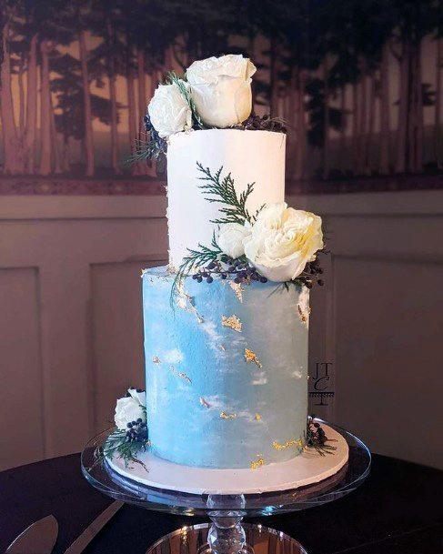 Lovely Blue And White Wedding Cake