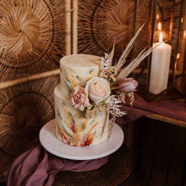 Lovely Boho 2 Tier Wedding Cake
