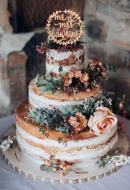 Lovely Brown Rustic Cake Wedding Flower Art