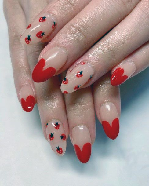Lovely Clear Red Heart Strawberry Cute Nail Design For Women